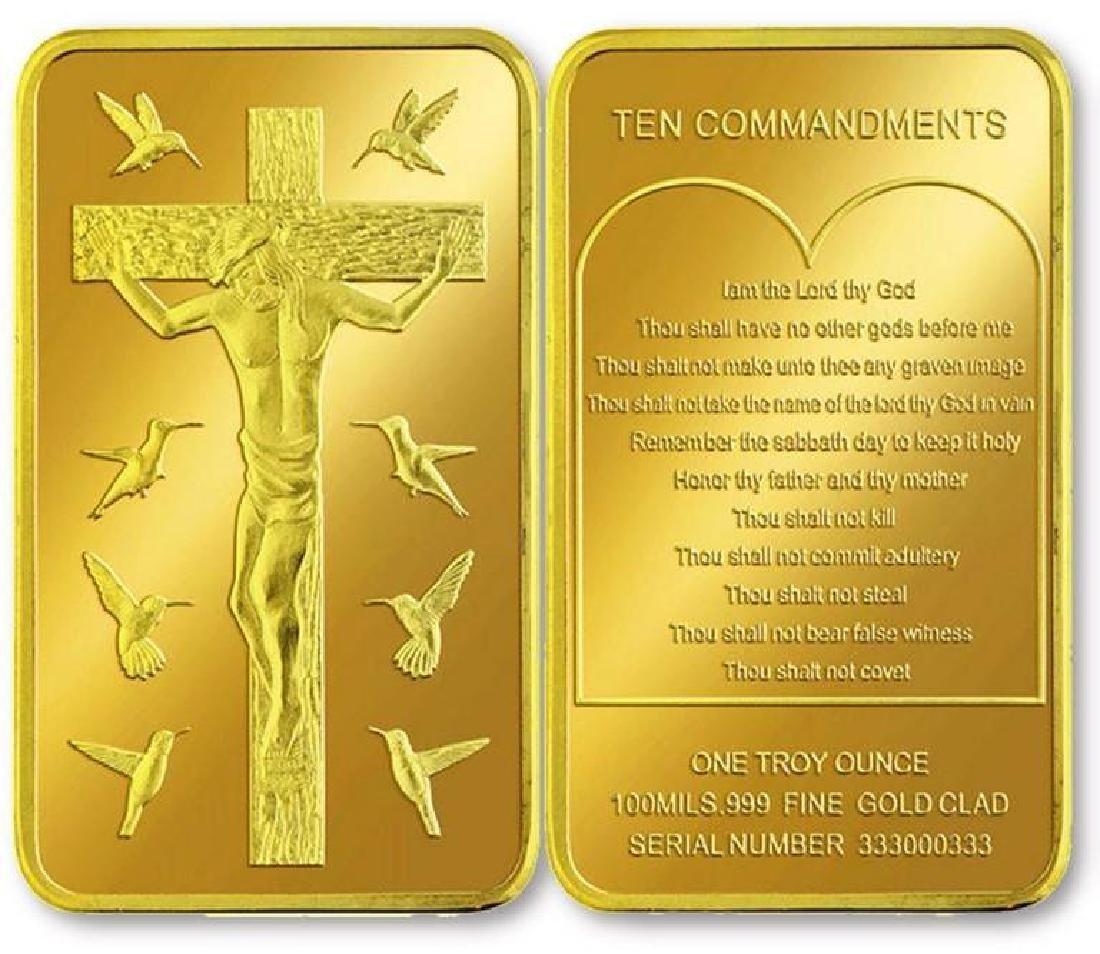 Jesus Christ .999 Fine Gold Clad Bullion Bar