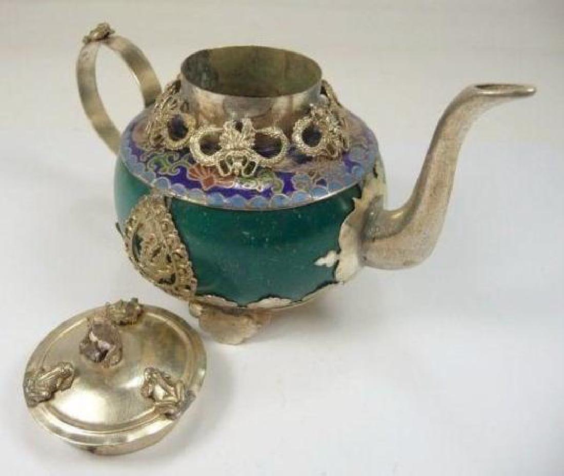 Chinese Animal Designs Jade Teapot - 3