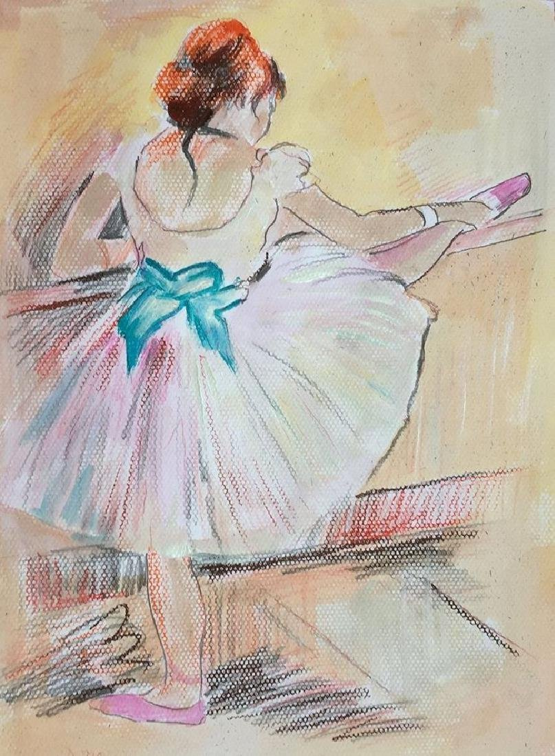 Mixed Media On Paper In The Manner Of Degas
