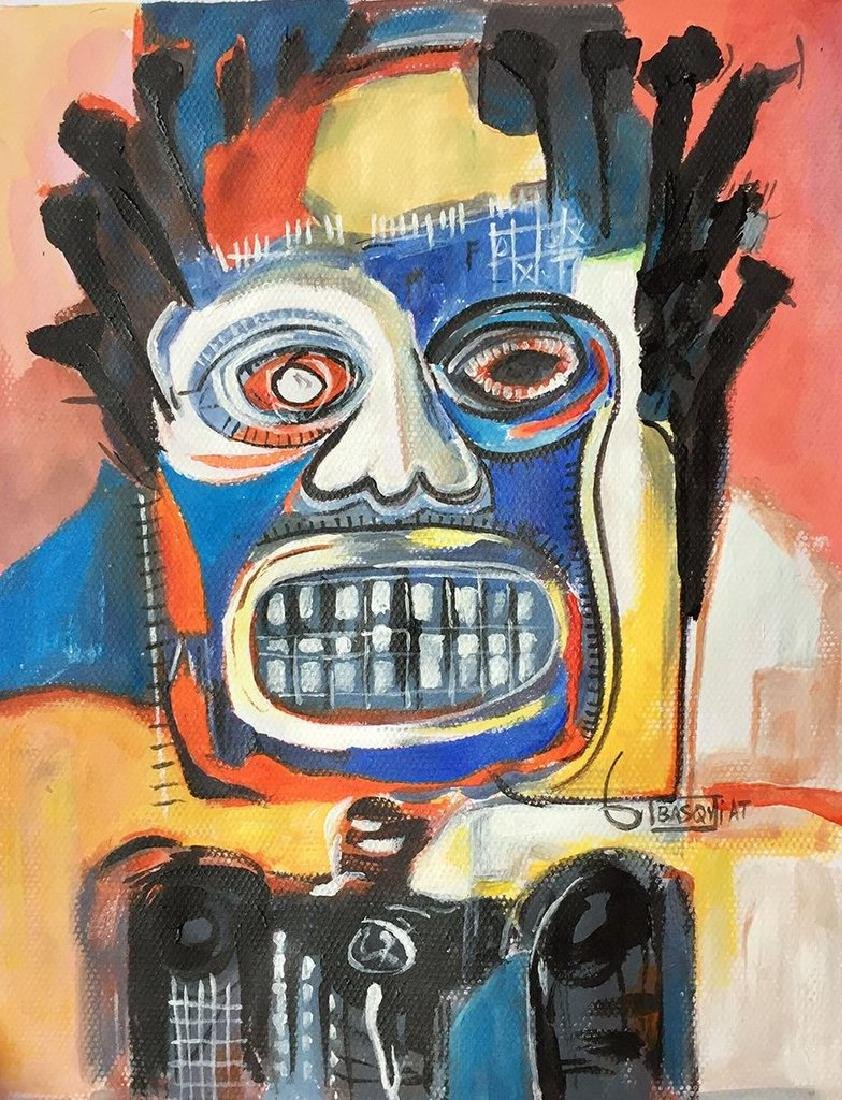 Mixed Media On Paper Signed Basquiat