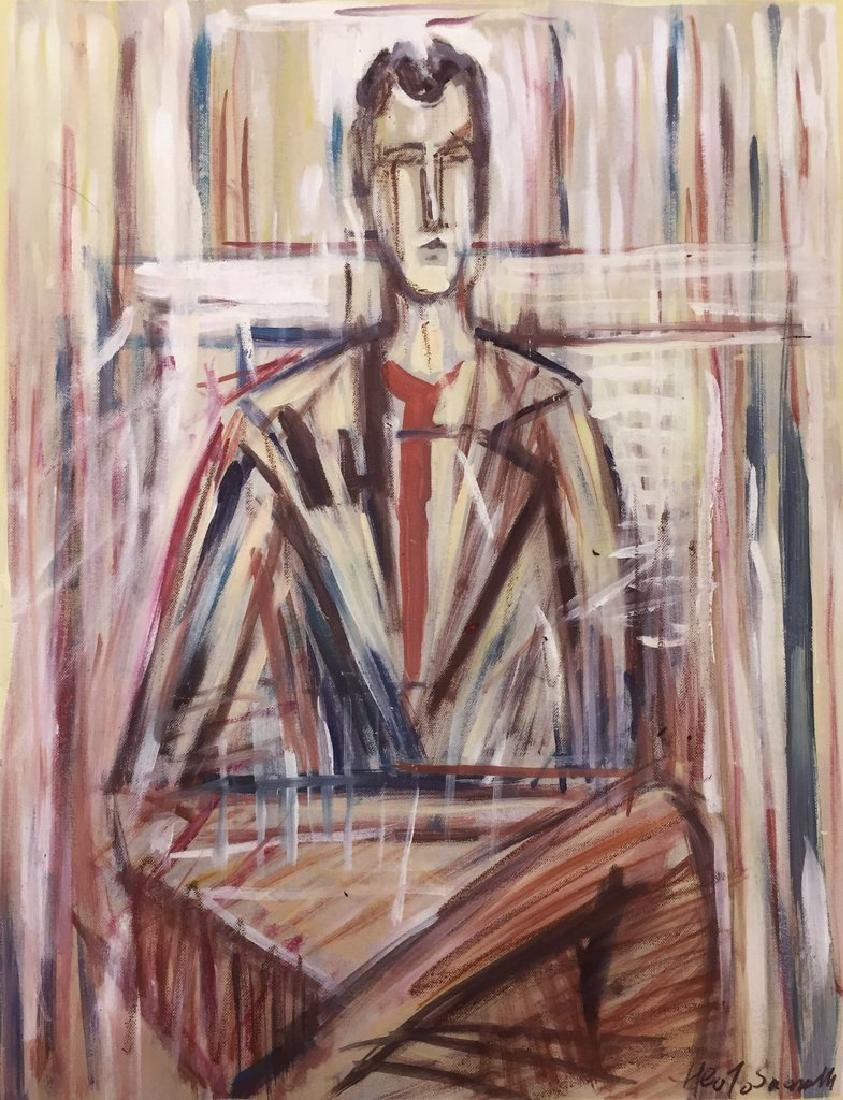 Mixed Media On Paper In The Manner Of Giacometti
