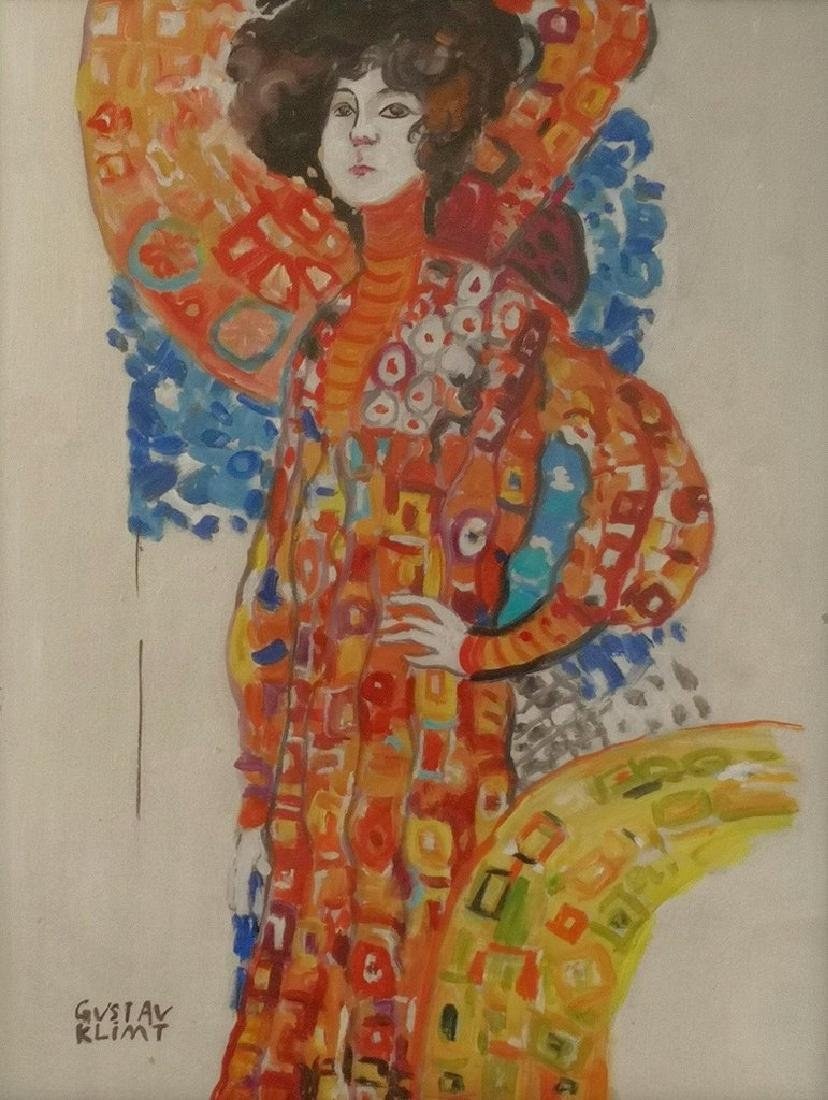 Gouache On Paper Signed Gustav Klimt