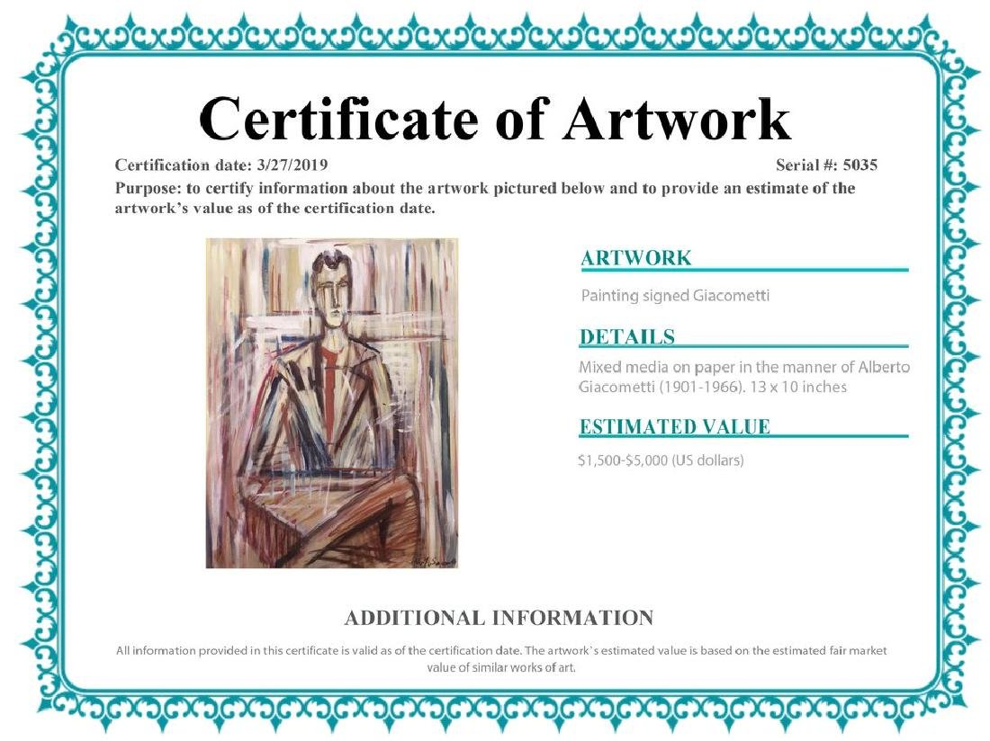 Mixed Media On Paper Signed Giacometti - 2