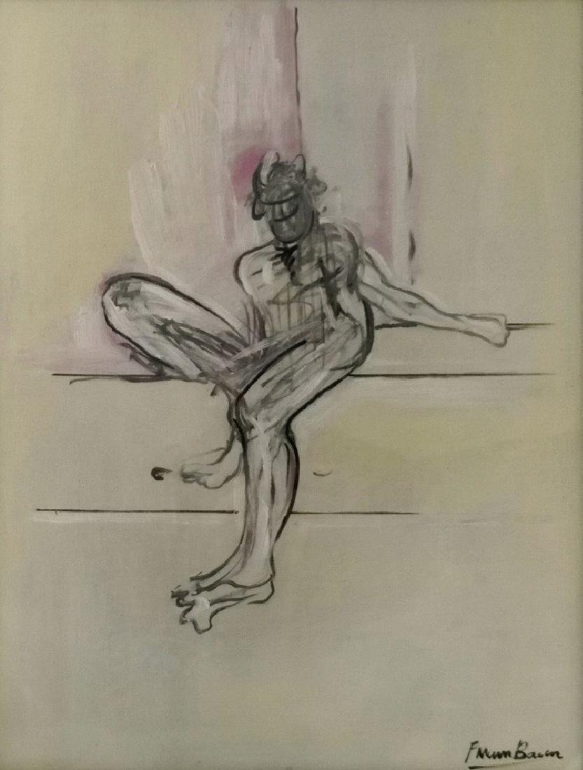 Mixed Media On Paper Signed Francis Bacon