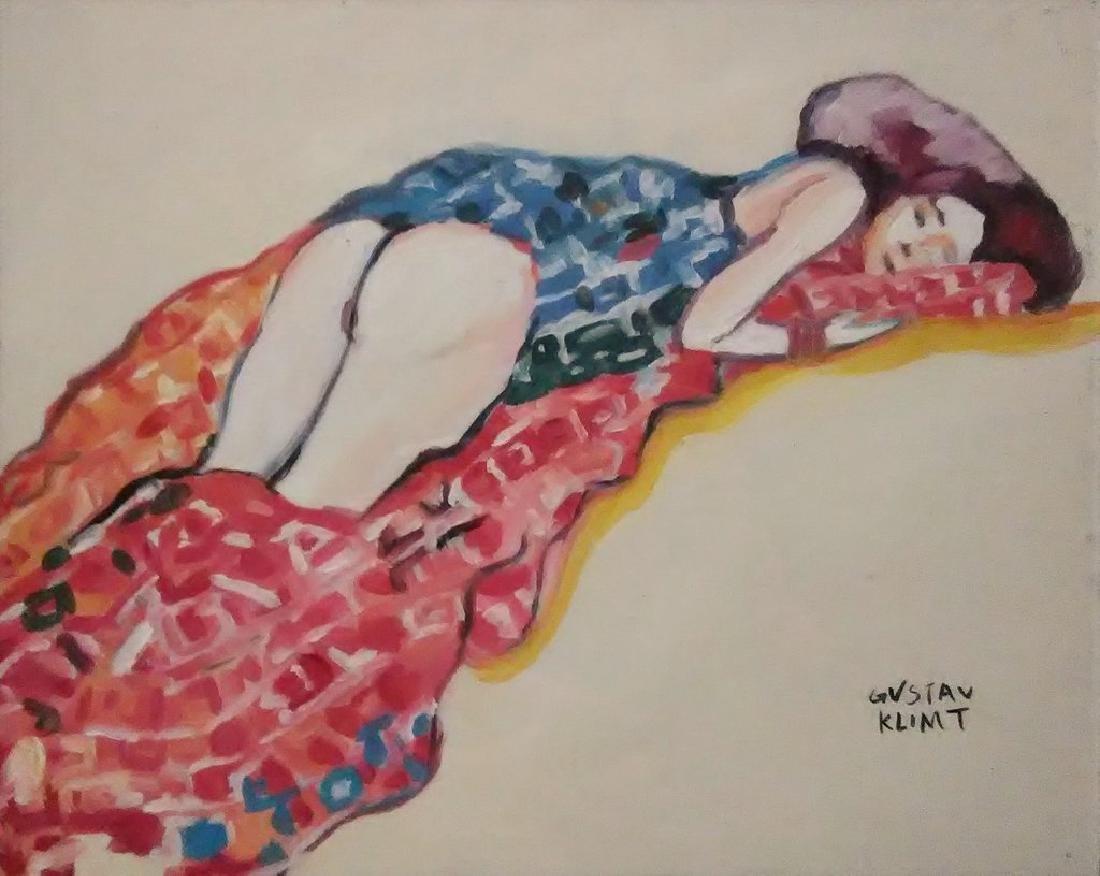 Gouache On Paper Signed Gustav Klimt