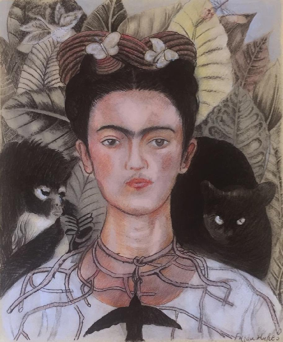 Watercolor On Paper Signed Frida Kahlo