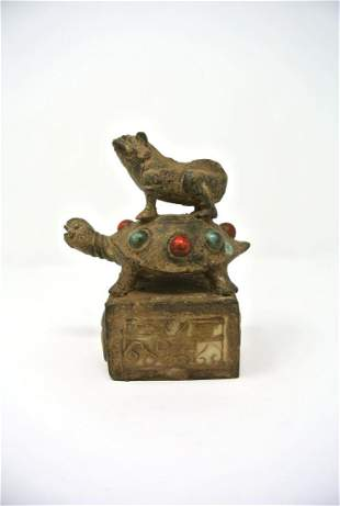 Chinese Antique Jade Inlaid Bronze Seal of Toad Turtle