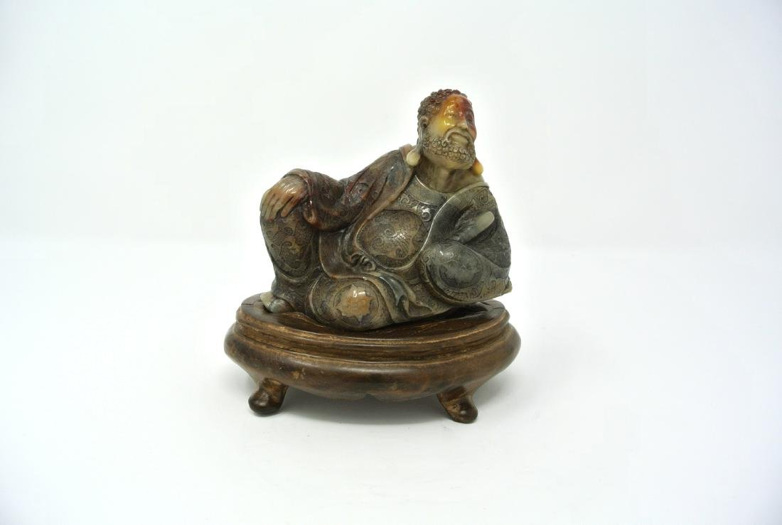 Chinese Carved Hard Stone Statue of Reclined Man Design