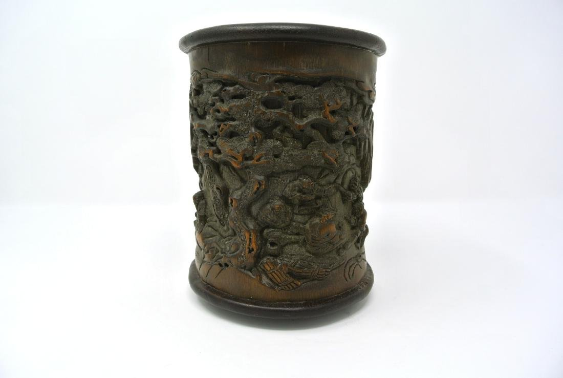 Chinese Bamboo Brushpot with Carved Scenery