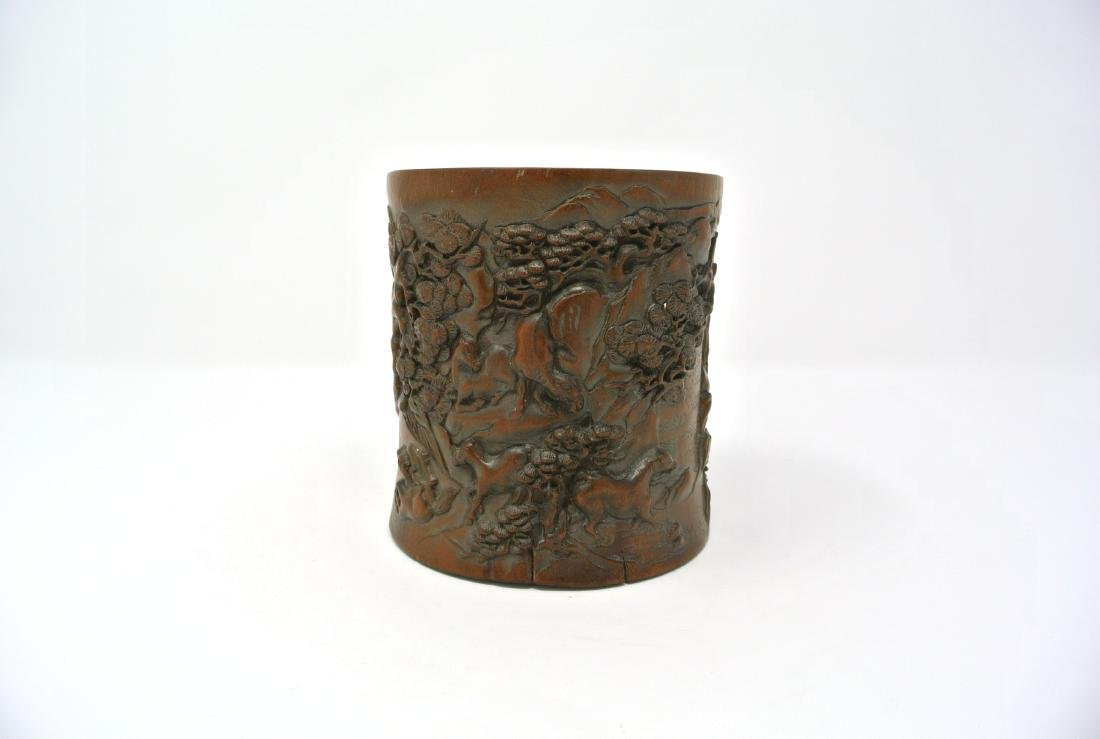 Chinese Antique Hardwood Carved Scenery Brushpot