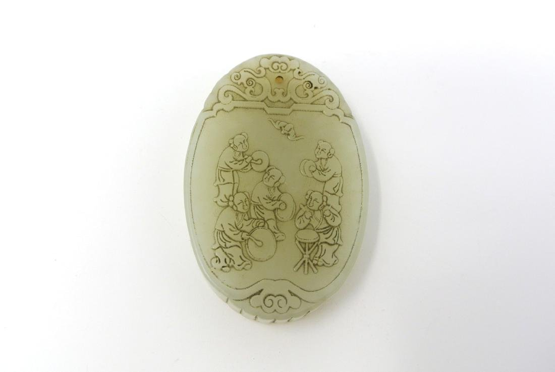 Chinese Old Carved Jade Oval Pendant with Five Men
