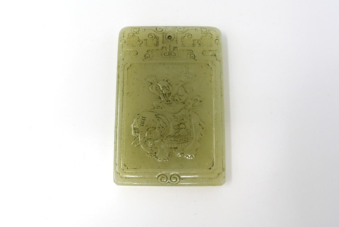 Chinese Carved Jade Pendant of Man Riding an Elephant