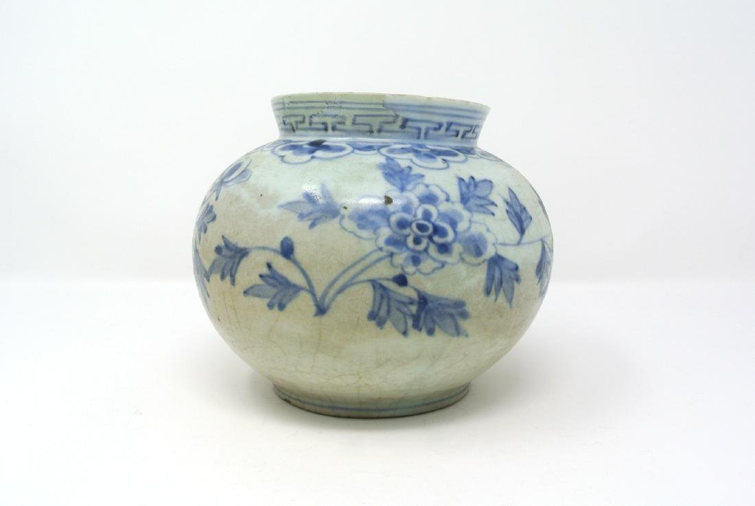 Korean Blue and White Floral Vase from Joseon Dynasty