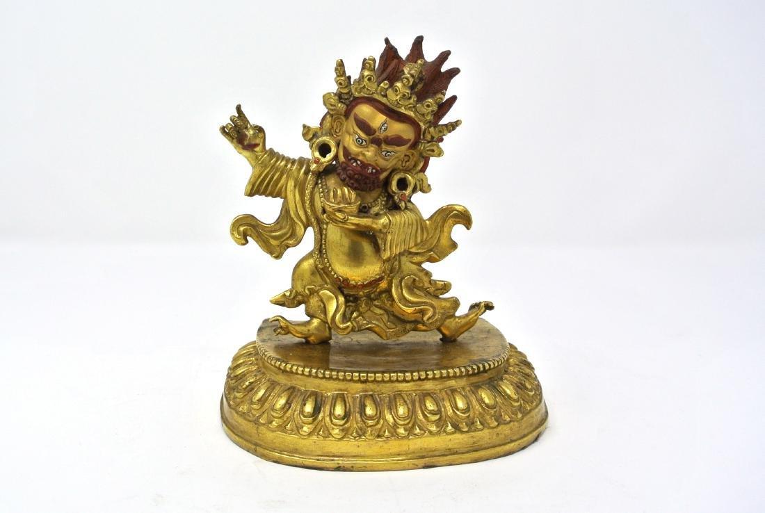 Sino-Tibetan Gilt Bronze Mahakala Buddha