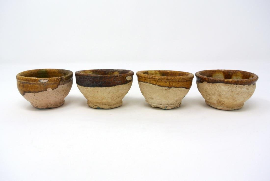 Chinese 4 piece Tang Dynasty 3 Colors Sancai Cups