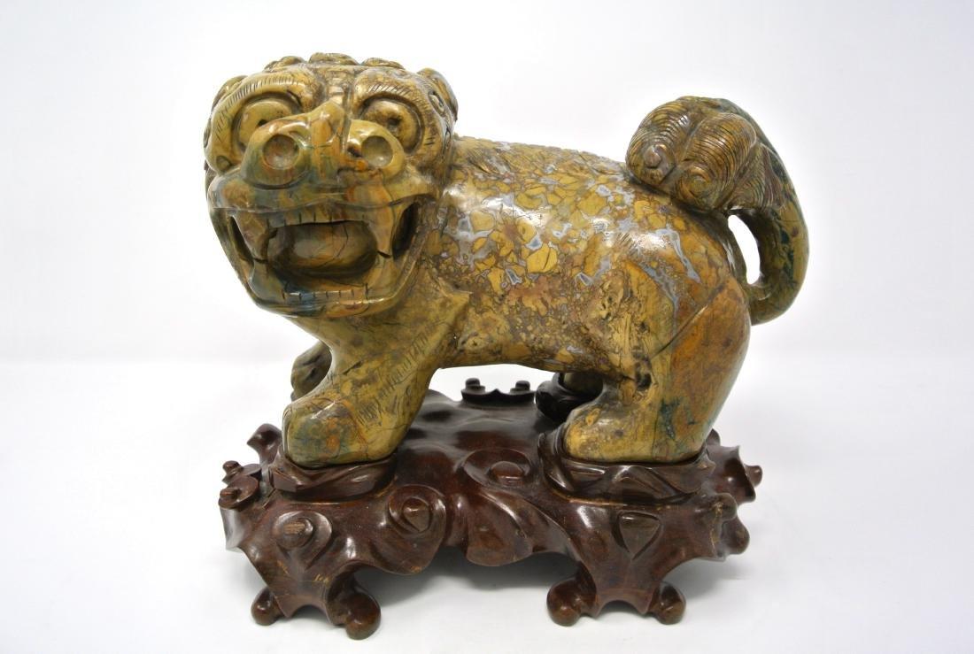 Chinese Heavy Old Hard Stone Foo Dog