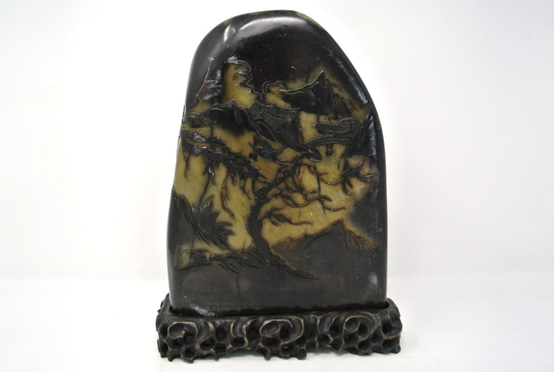 Chinese Old Large Hard Carved Stone