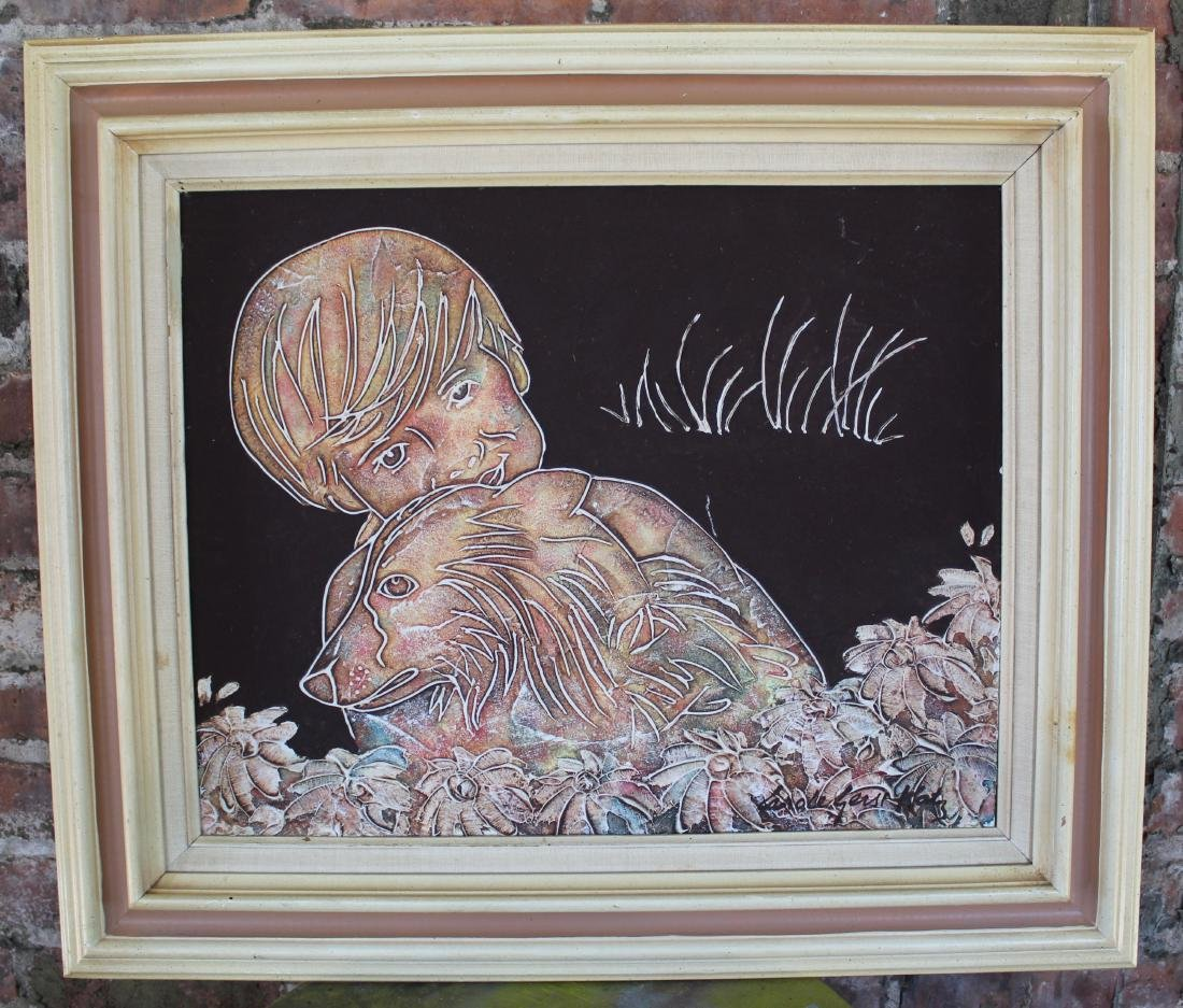 Signed Carole Gerst Katz Painting of Boy with Dog