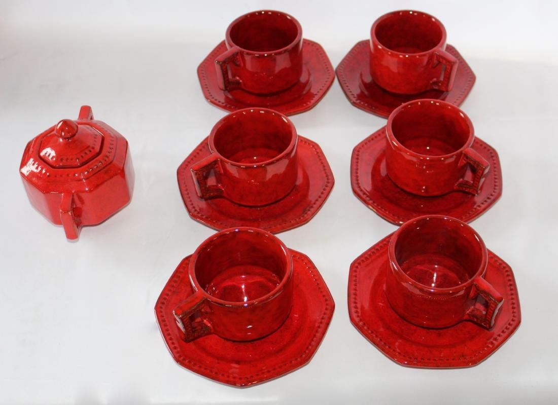 Peasant Village Red Cabbage Set of 6 Tea Coffee Mugs, 6