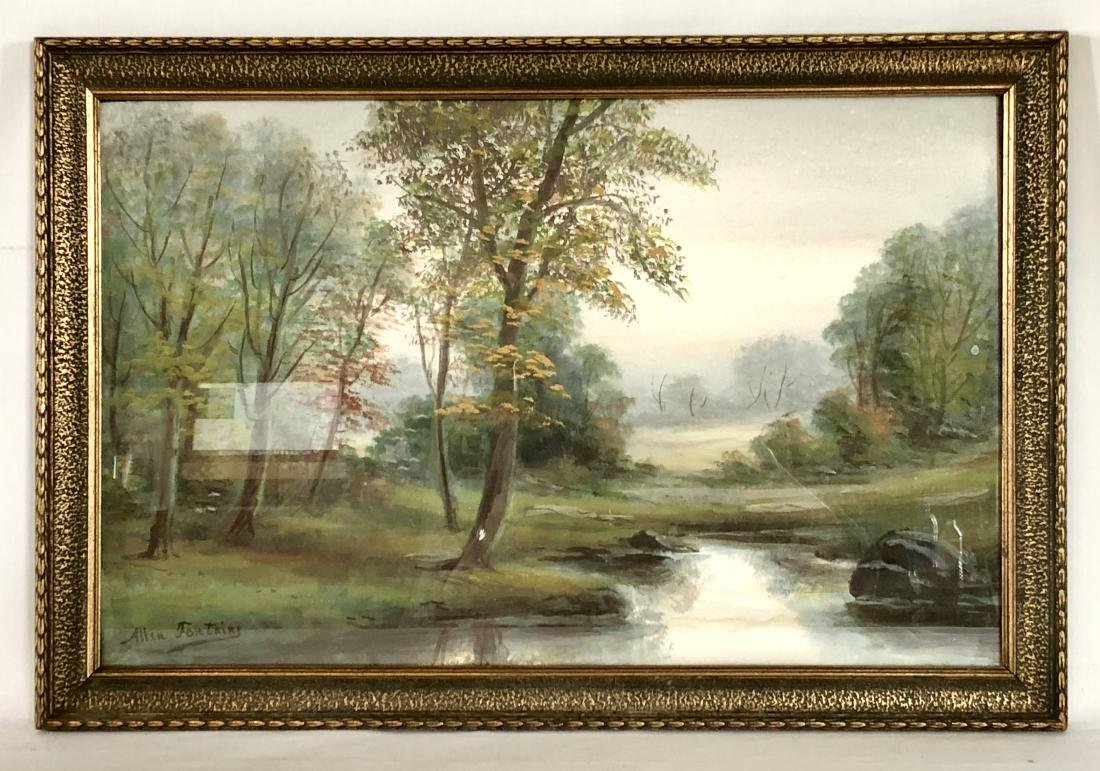 Pair of Allen Fontaine Watercolor Autumn Landscapes