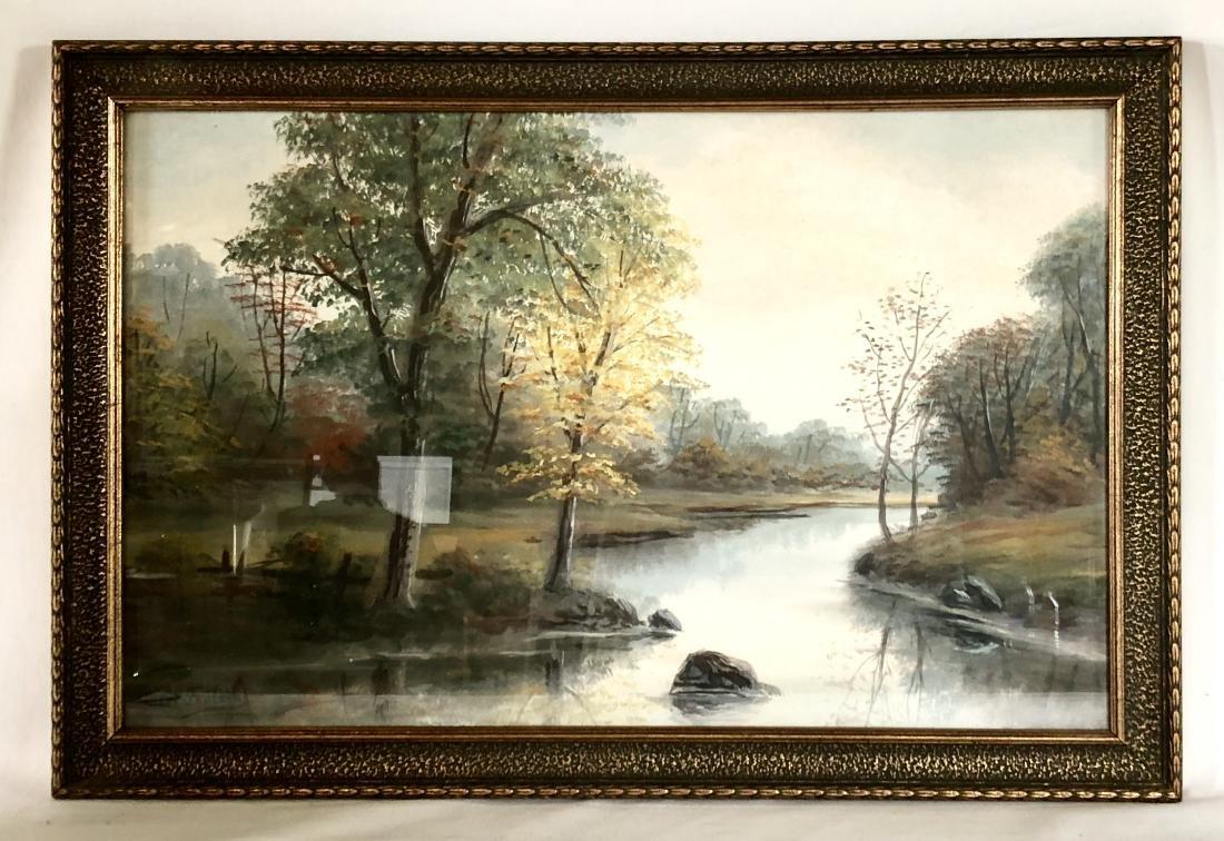 Pair of Allen Fontaine Watercolor Autumn Landscapes - 2