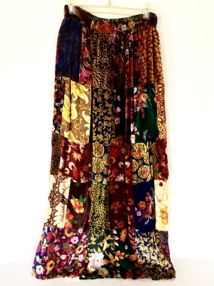 Vintage Floral Velvet Patchwork Maxi Skirt