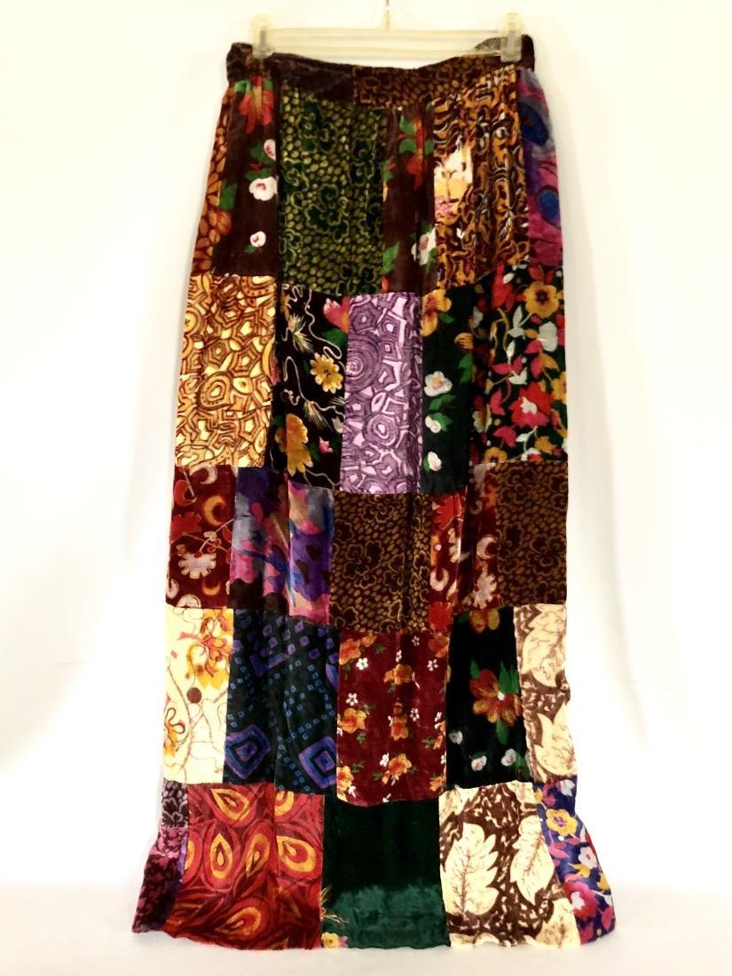 Vintage Floral Velvet Patchwork Maxi Skirt - 2