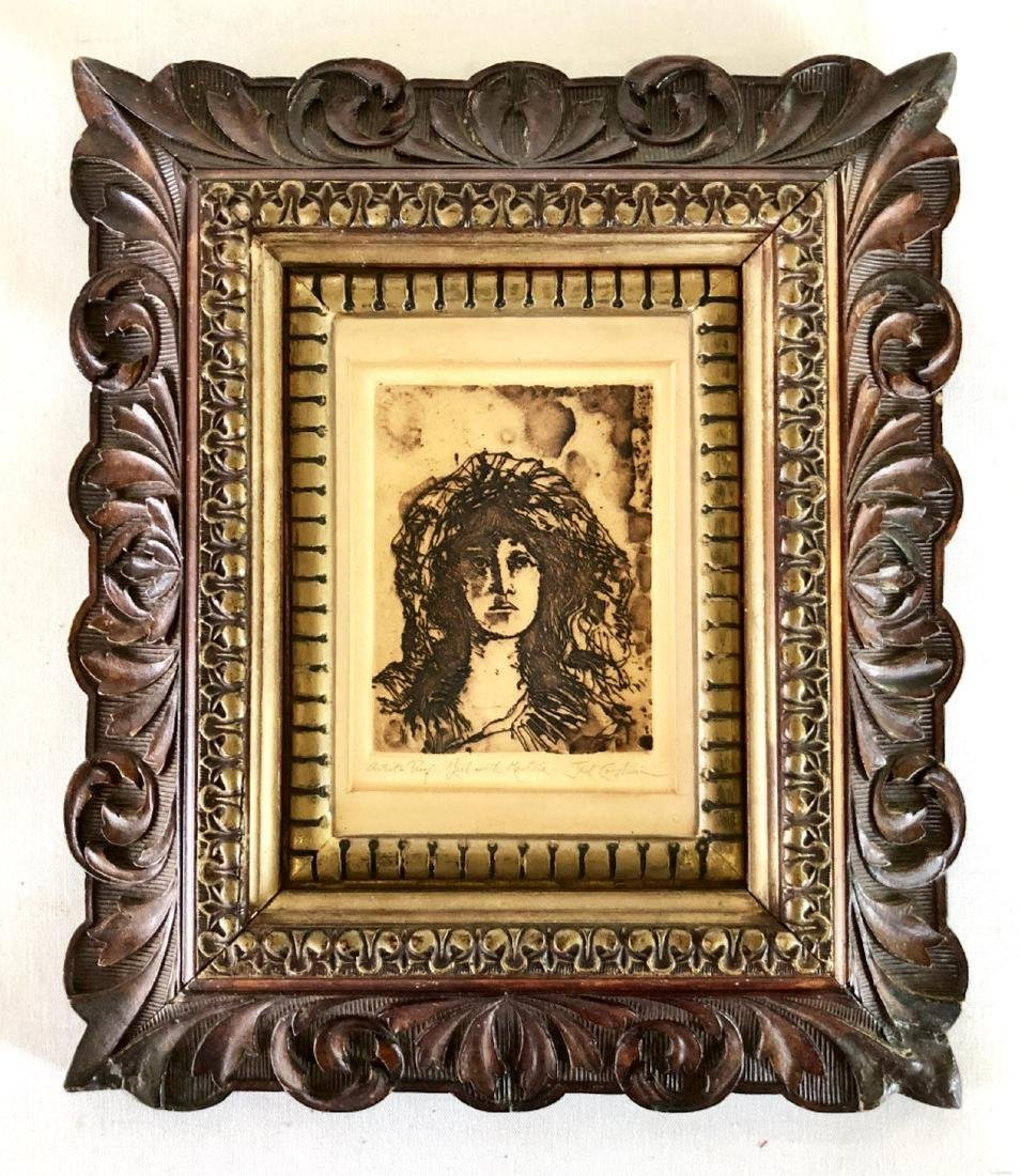 Signed and Framed Jack Coughlin Etching of a Girl with