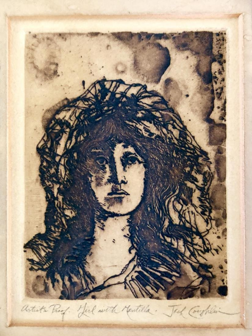 Signed and Framed Jack Coughlin Etching of a Girl with - 2