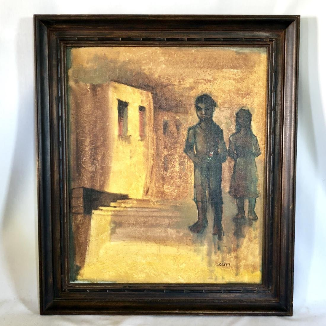 Signed Conti Oil Painting