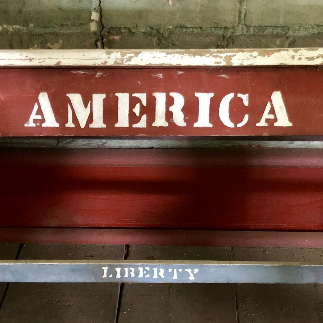 USA Themed Painted Bench - 4