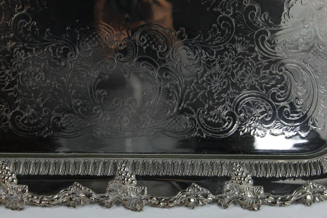 Old English Silver Large Plated Serving Tray - 3