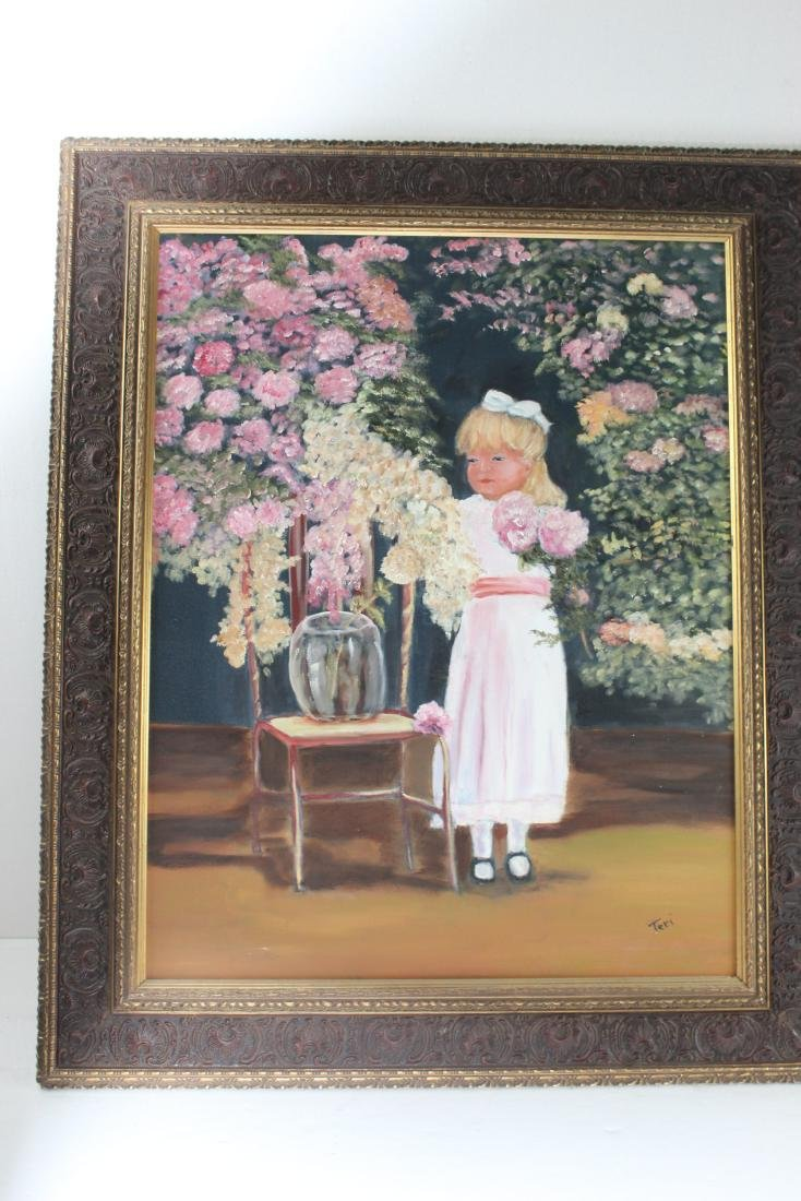 Little Girl around Flowers Painting by Teri Peluso