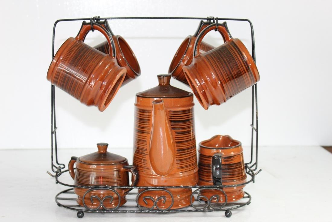 Japanese Coffee Pot Set w/ Creamer, Sugar Pot & Set of