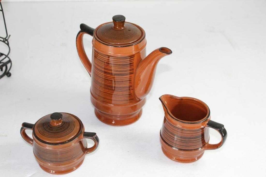 Japanese Coffee Pot Set w/ Creamer, Sugar Pot & Set of - 9
