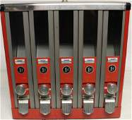 1940s Five Slot One Penny Machine for Gumball Candy