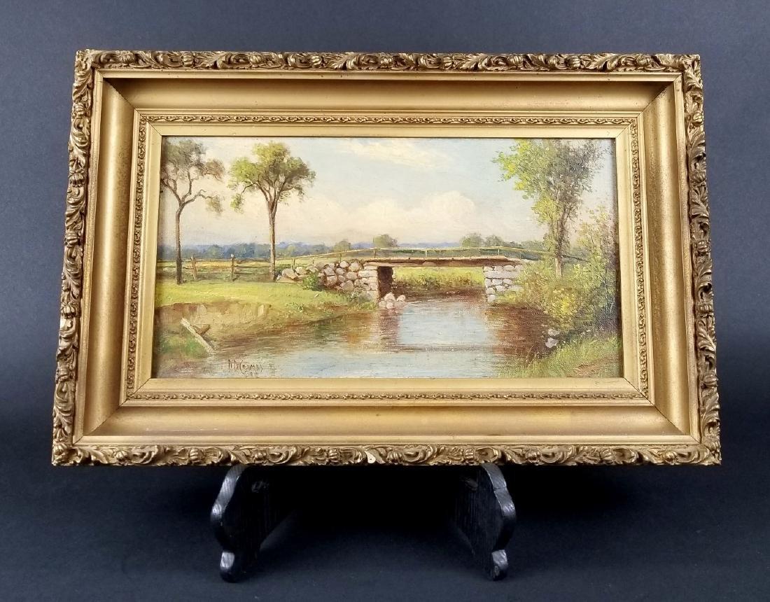 "Oil On Canvas ""Bridge"" Signed DD Crooks, Dated 1918"