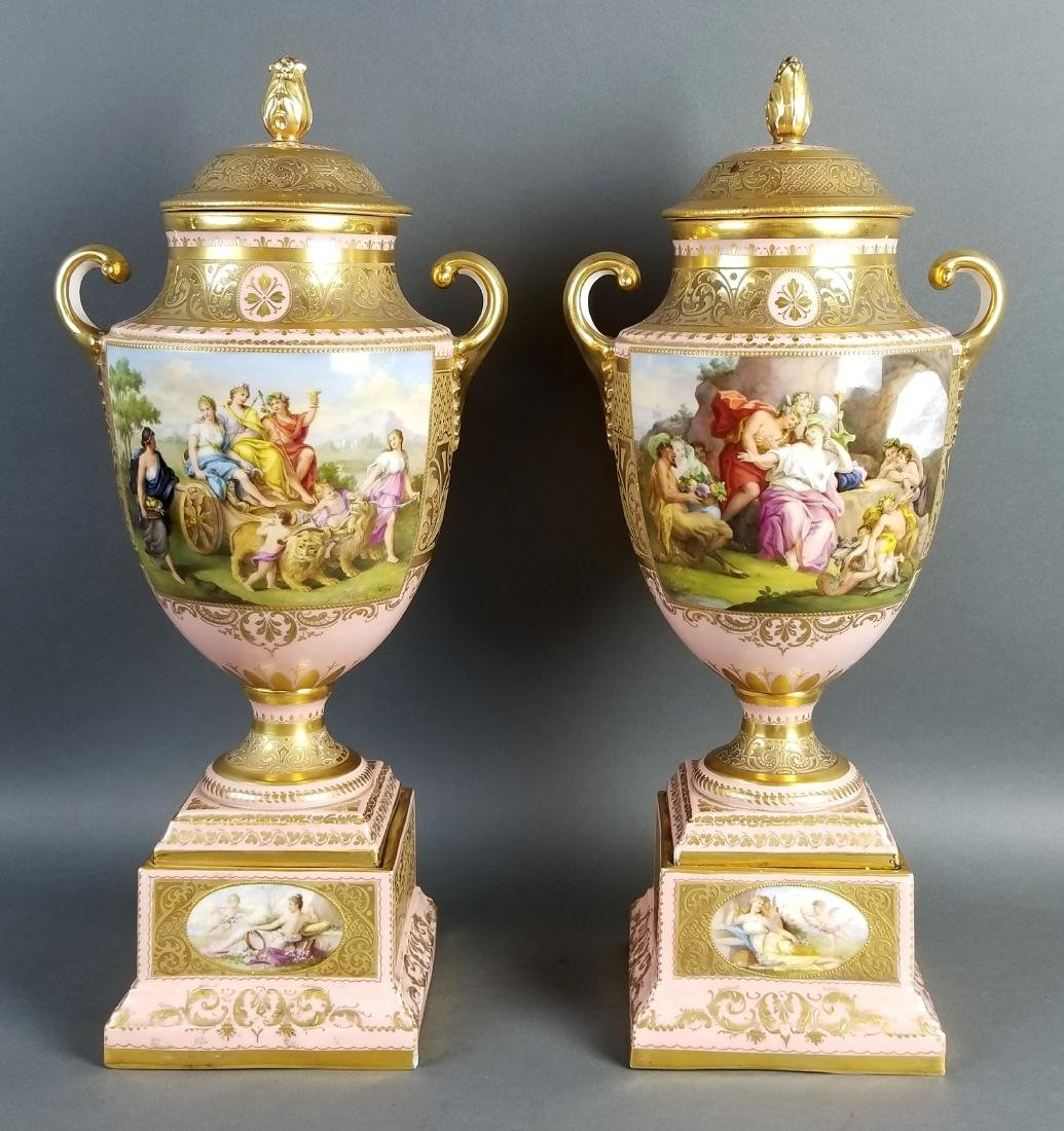 A Pair of Late 19th C. Royal Vienna Pink Ground
