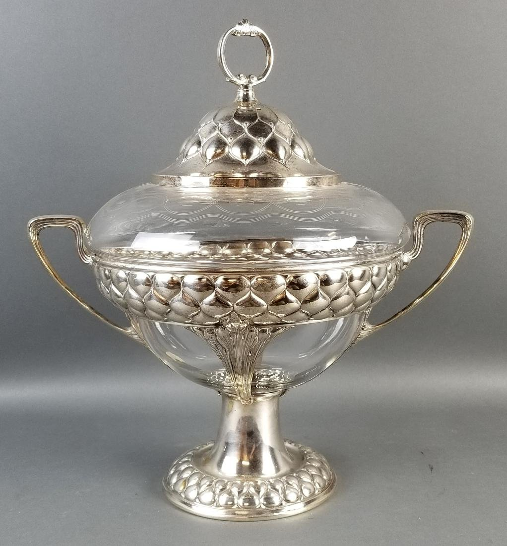 A WMF Art Noveau Silverplated and Glass Punch Bowl