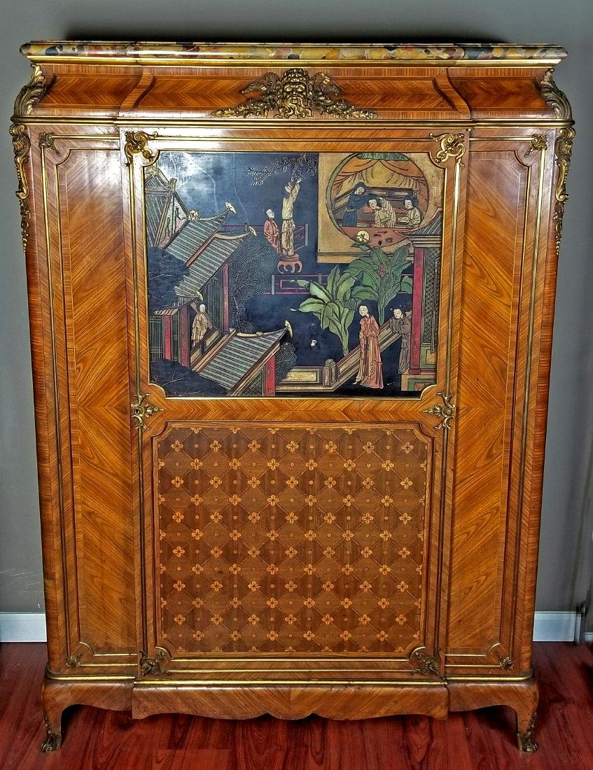 A 19th C. Chinoiserie Signed Cabinet w/ Bronze mounts