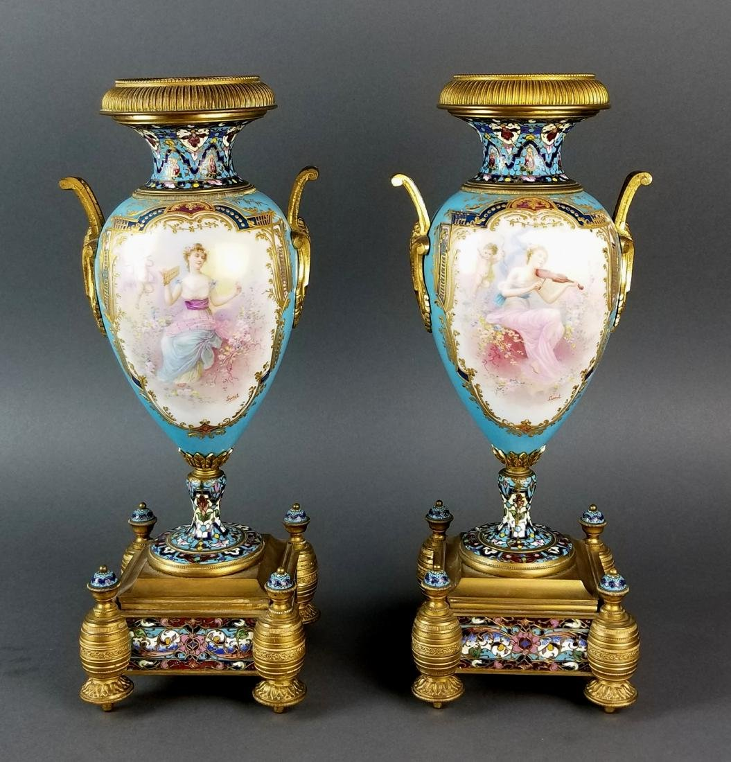 Pair of 19th C. Large Sevres and Champleve Enamel Vases
