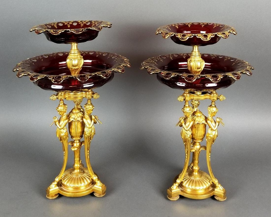 Pair of Fine Figural Bronze and Baccarat Crystal