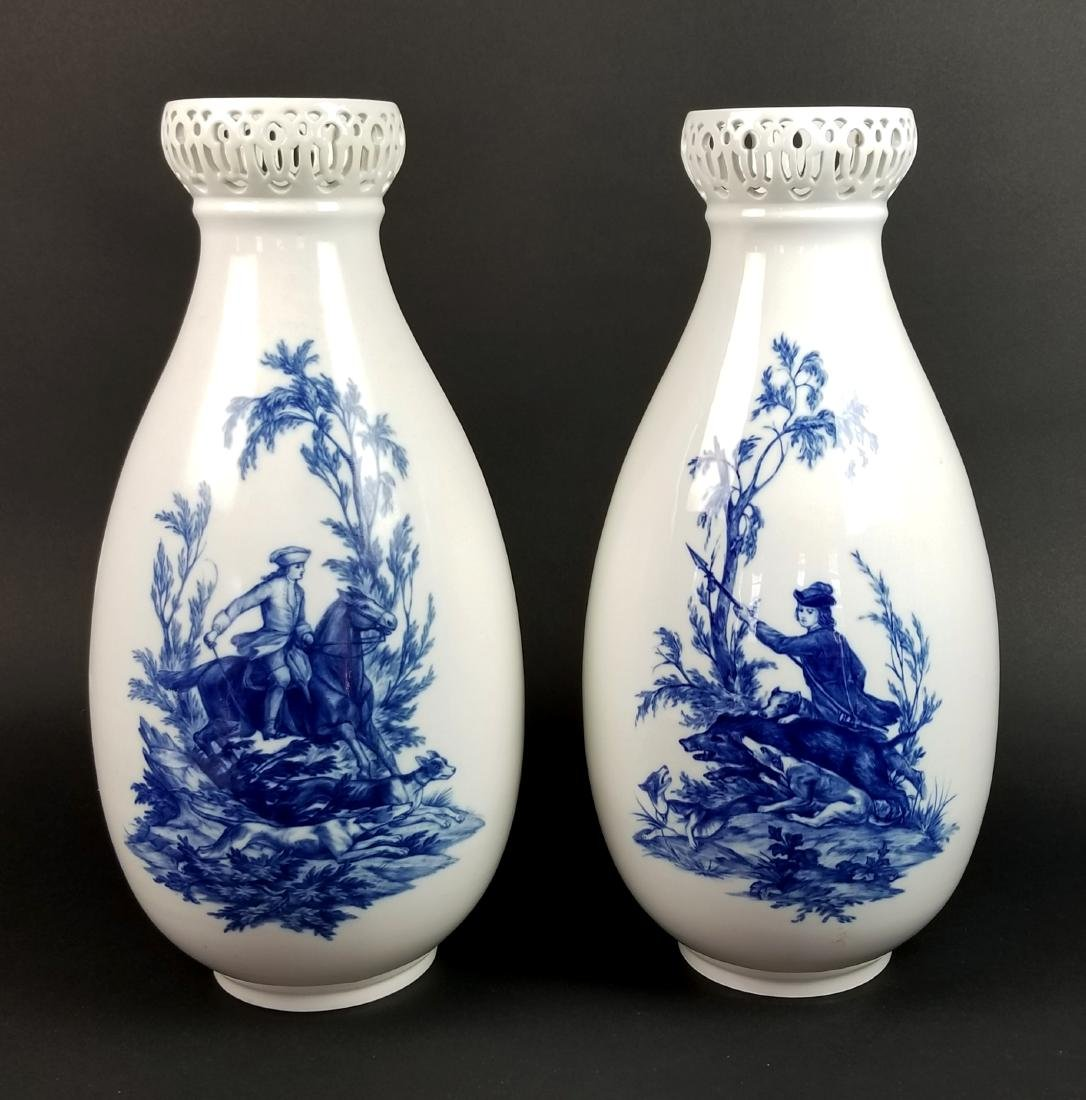 Pair of 19th C. Meissen Large Hand Painted Vases