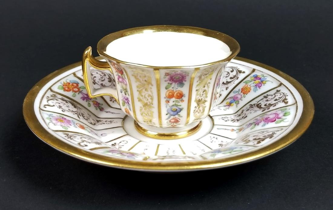 19th C. Meissen Hand Painted Floral Cup and Saucer