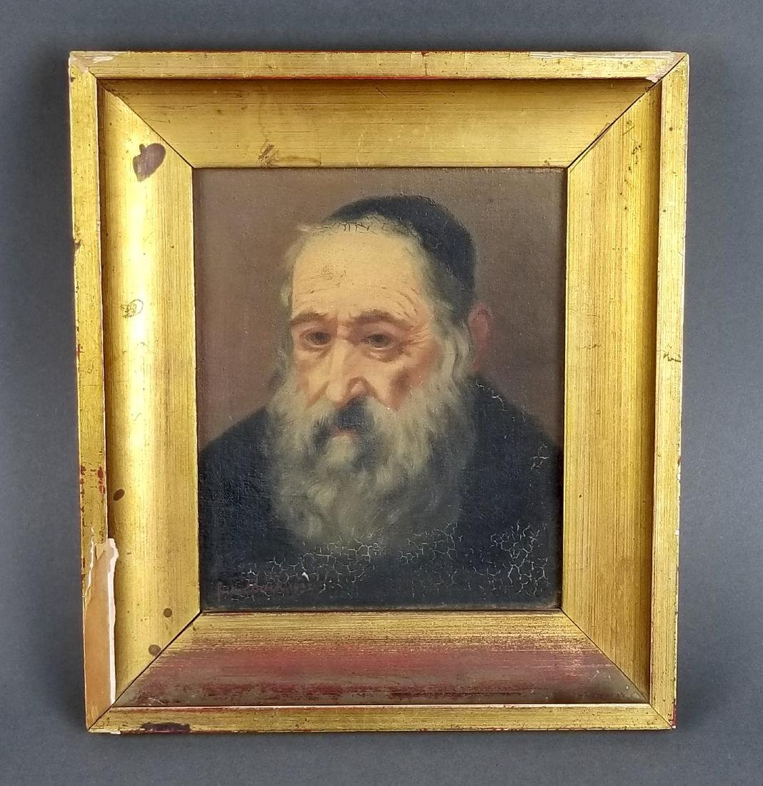 Framed Painting of Rabbi Signed