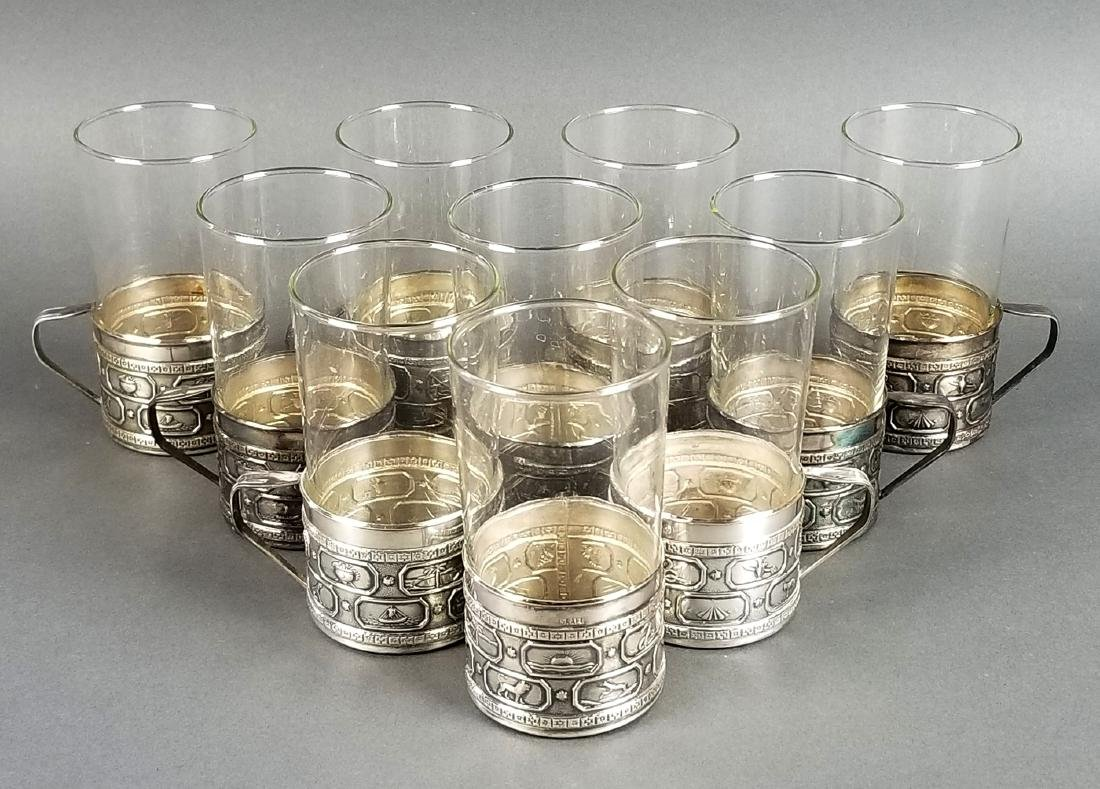 """Set of 10 Silverplated and Glass Cups """"Sign of 12"""