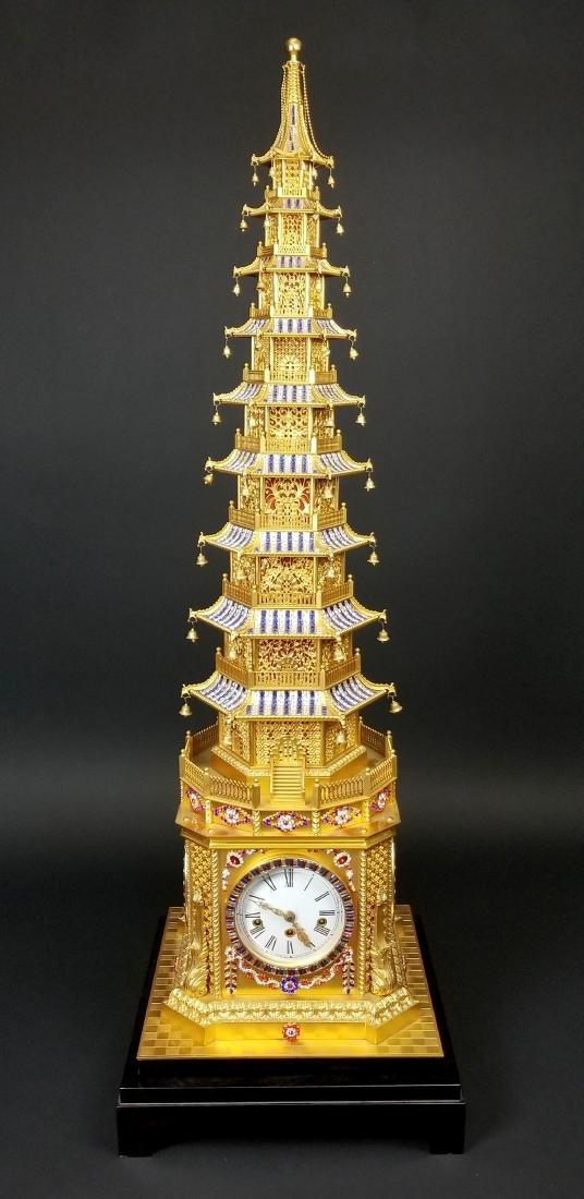 Magnificent English Gilt Bronze and Jewelled Pagoda