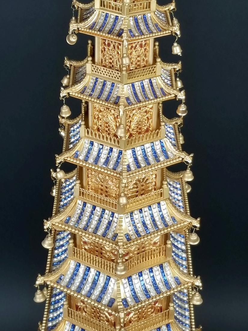 Magnificent English Gilt Bronze and Jewelled Pagoda - 3