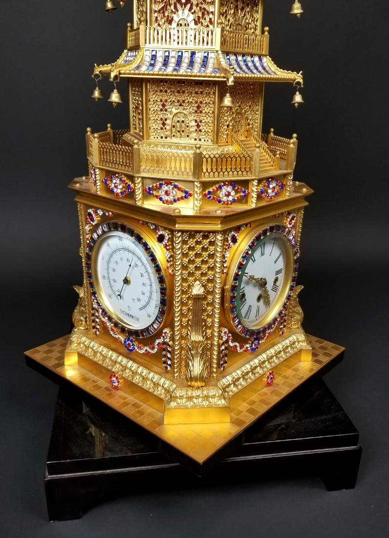 Magnificent English Gilt Bronze and Jewelled Pagoda - 6