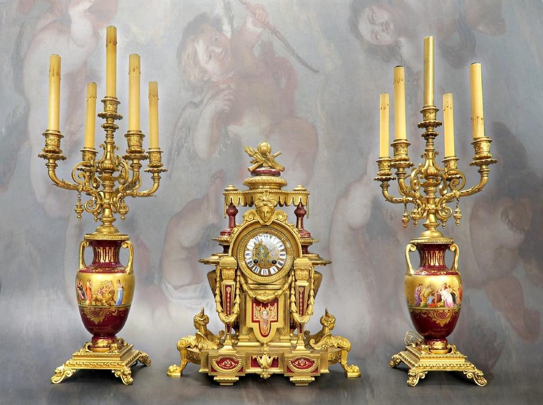 19th C Royal Vienna Figural Bronze Clock Set